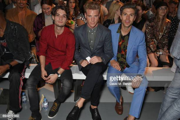 Richard Biedul Darren Kennedy and Roger Frampton attend the Christopher Raeburn show during the London Fashion Week Men's June 2017 collections on...