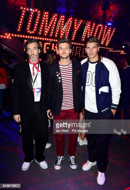Richard Biedul Toby HuntingtonWhiteley and Jim Chapman during the Tommy Hilfiger Front row during London Fashion Week SS18 held at Roundhouse Chalk...