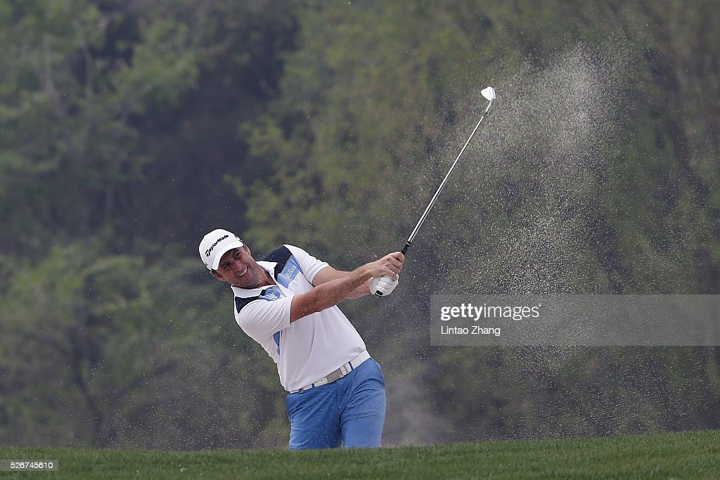 Richard Bland of England of Chile plays a shot during the final round of the Volvo China open at Topwin Golf and Country Club on May 1, 2016 in Beijing, China.