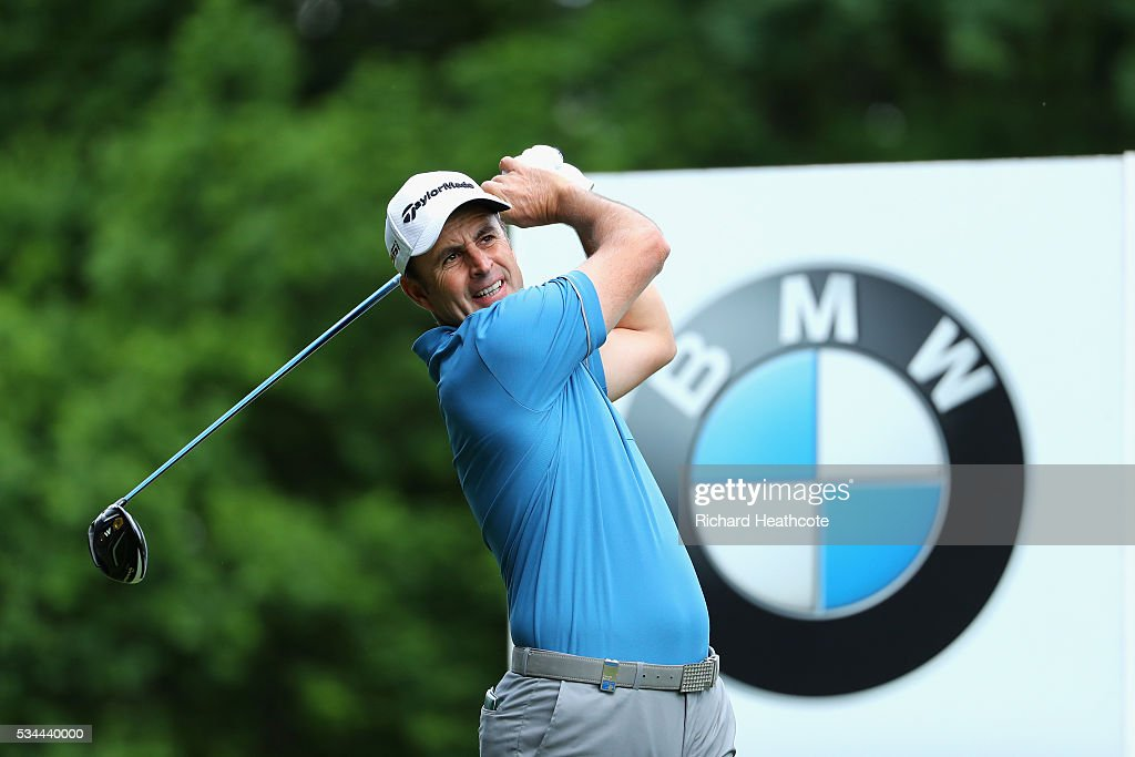<a gi-track='captionPersonalityLinkClicked' href=/galleries/search?phrase=Richard+Bland&family=editorial&specificpeople=576940 ng-click='$event.stopPropagation()'>Richard Bland</a> of England tees off during day one of the BMW PGA Championship at Wentworth on May 26, 2016 in Virginia Water, England.