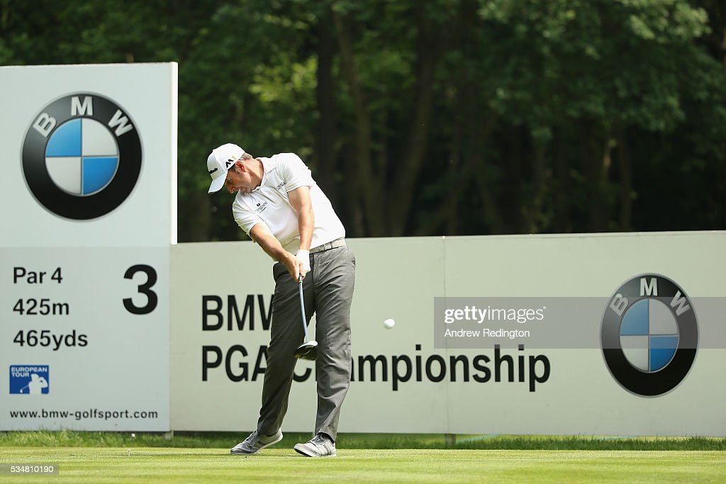 <a gi-track='captionPersonalityLinkClicked' href=/galleries/search?phrase=Richard+Bland&family=editorial&specificpeople=576940 ng-click='$event.stopPropagation()'>Richard Bland</a> of England tees off on the 3rd hole during day three of the BMW PGA Championship at Wentworth on May 28, 2016 in Virginia Water, England.