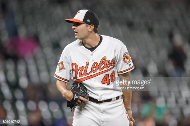 Richard Bleier of the Baltimore Orioles pitches against the Minnesota Twins on May 23 2017 at Oriole Park at Camden Yards in Baltimore Maryland The...