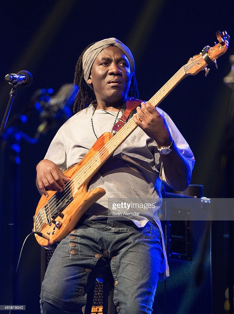 <a gi-track='captionPersonalityLinkClicked' href=/galleries/search?phrase=Richard+Bona&family=editorial&specificpeople=2312158 ng-click='$event.stopPropagation()'>Richard Bona</a> performs on stage at Santral Istanbul for the 21st Istanbul Jazz Festival organized by IKSV on July 7, 2014 in Istanbul, Turkey.