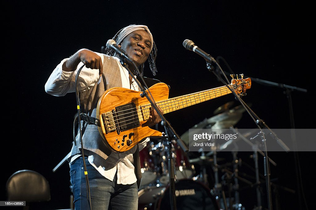 Richard Bona performs on stage during Festival Internacional de Jazz de Barcelona at Barts on October 20, 2013 in Barcelona, Spain.