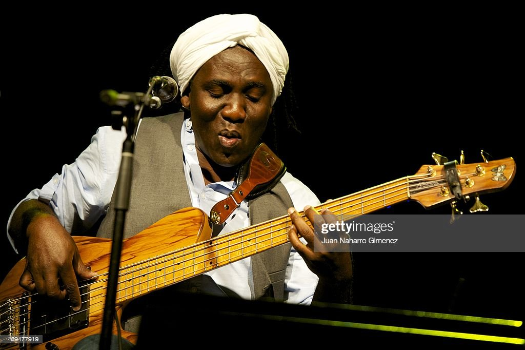 <a gi-track='captionPersonalityLinkClicked' href=/galleries/search?phrase=Richard+Bona&family=editorial&specificpeople=2312158 ng-click='$event.stopPropagation()'>Richard Bona</a> presents his new project 'The Flamenco Project' on stage during Madrid Inquieta Festival at Sala BUT on May 10, 2014 in Madrid, Spain.