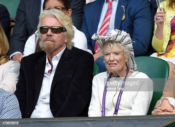 Richard Branson and Eve Branson attend day eight of the Wimbledon Tennis Championships at Wimbledon on July 7 2015 in London England