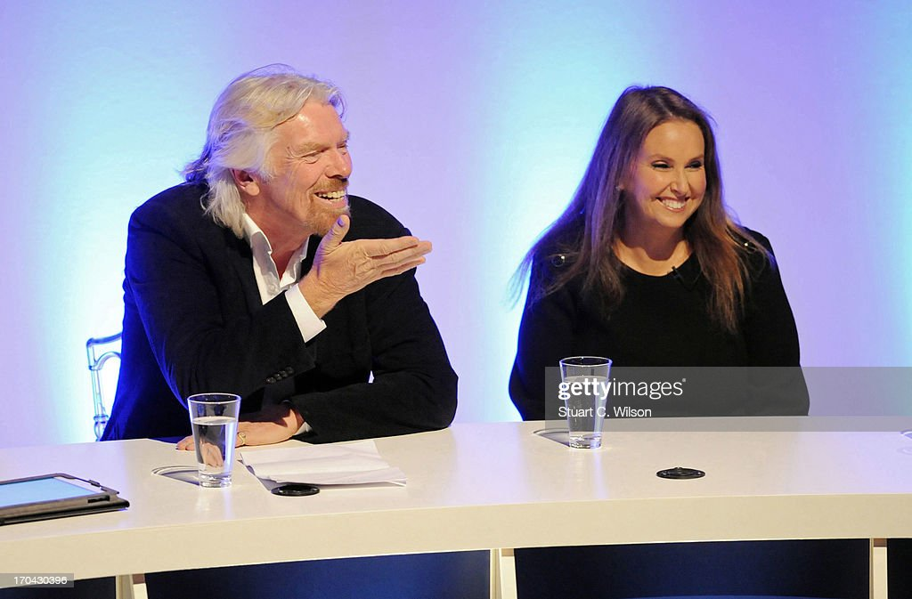 <a gi-track='captionPersonalityLinkClicked' href=/galleries/search?phrase=Richard+Branson&family=editorial&specificpeople=220198 ng-click='$event.stopPropagation()'>Richard Branson</a> and Shari Arison talk to the audience during the launch of The B Team on June 13, 2013 in London, England. The B Team is a not-for-profit initiative that has been formed by a group of global business leaders to create a future where the purpose of business is to be a driving force for social, environmental and economic benefit.