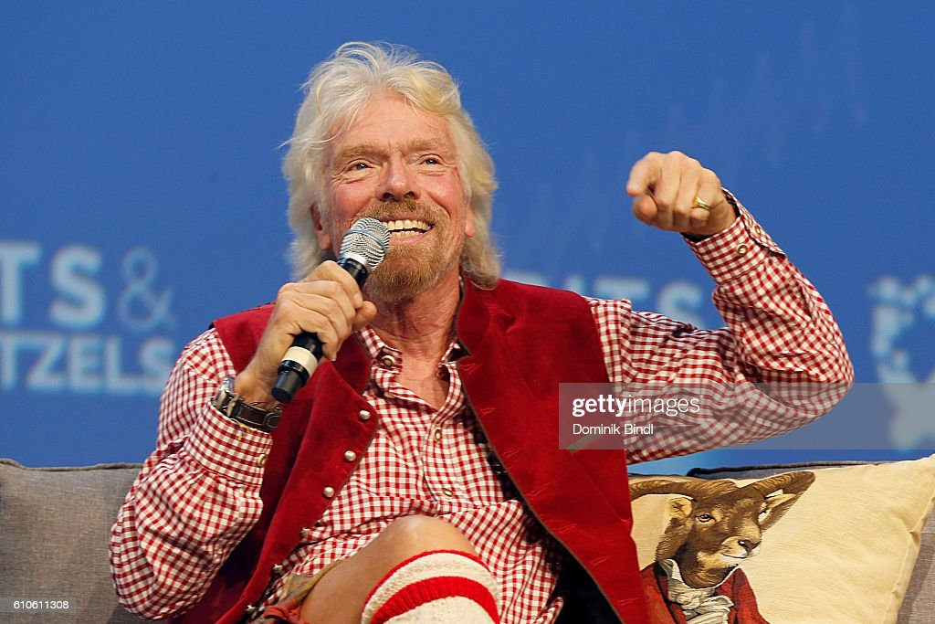 Richard Branson attends the Bits & Pretzels Founders Festival at ICM Munich on September 26, 2016 in Munich, Germany.