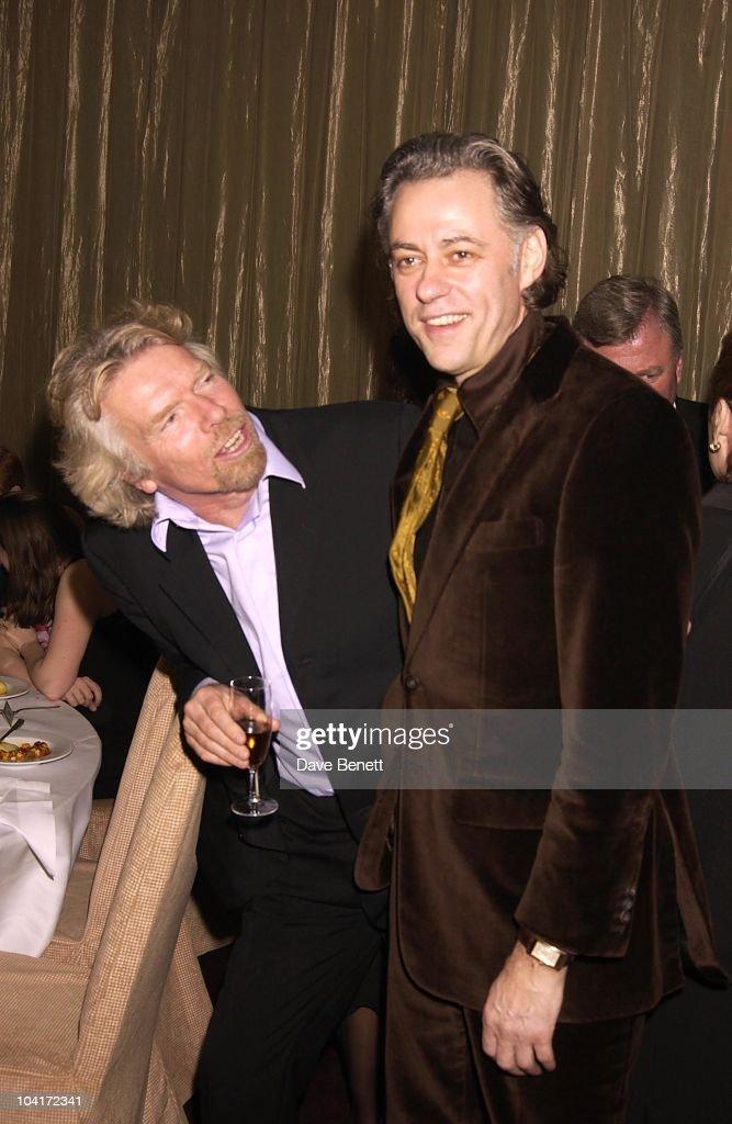 Richard Branson & Bob Geldof, Richard Branson Party For The Newyork Mayor Rudolph Giuliani To Celebrate His Knighthood, Babylon Resaurant, Roof Gardens, Kensington.
