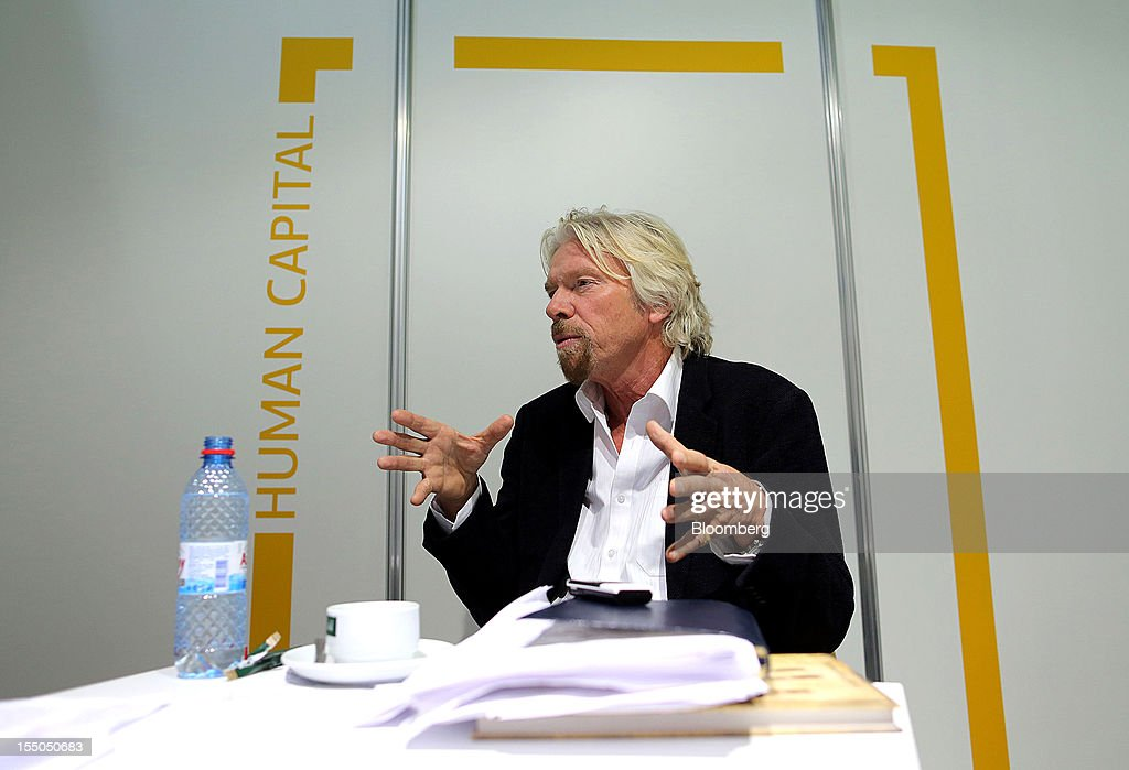 <a gi-track='captionPersonalityLinkClicked' href=/galleries/search?phrase=Richard+Branson&family=editorial&specificpeople=220198 ng-click='$event.stopPropagation()'>Richard Branson</a>, chairman and founder of Virgin Group Ltd., gestures while speaking during a Bloomberg interview at the Open Innovations International Forum for Innovative Development in Moscow, Russia, on Wednesday, Oct. 31, 2012. The Forum brings together representatives from business, the authorities, and sciences, to share experiences and analyse fundamental global trends. Photographer: Andrey Rudakov/Bloomberg via Getty Images