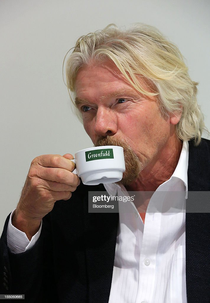 <a gi-track='captionPersonalityLinkClicked' href=/galleries/search?phrase=Richard+Branson&family=editorial&specificpeople=220198 ng-click='$event.stopPropagation()'>Richard Branson</a>, chairman and founder of Virgin Group Ltd., pauses for a drink during a Bloomberg interview at the Open Innovations International Forum for Innovative Development in Moscow, Russia, on Wednesday, Oct. 31, 2012. The Forum brings together representatives from business, the authorities, and sciences, to share experiences and analyse fundamental global trends. Photographer: Andrey Rudakov/Bloomberg via Getty Images
