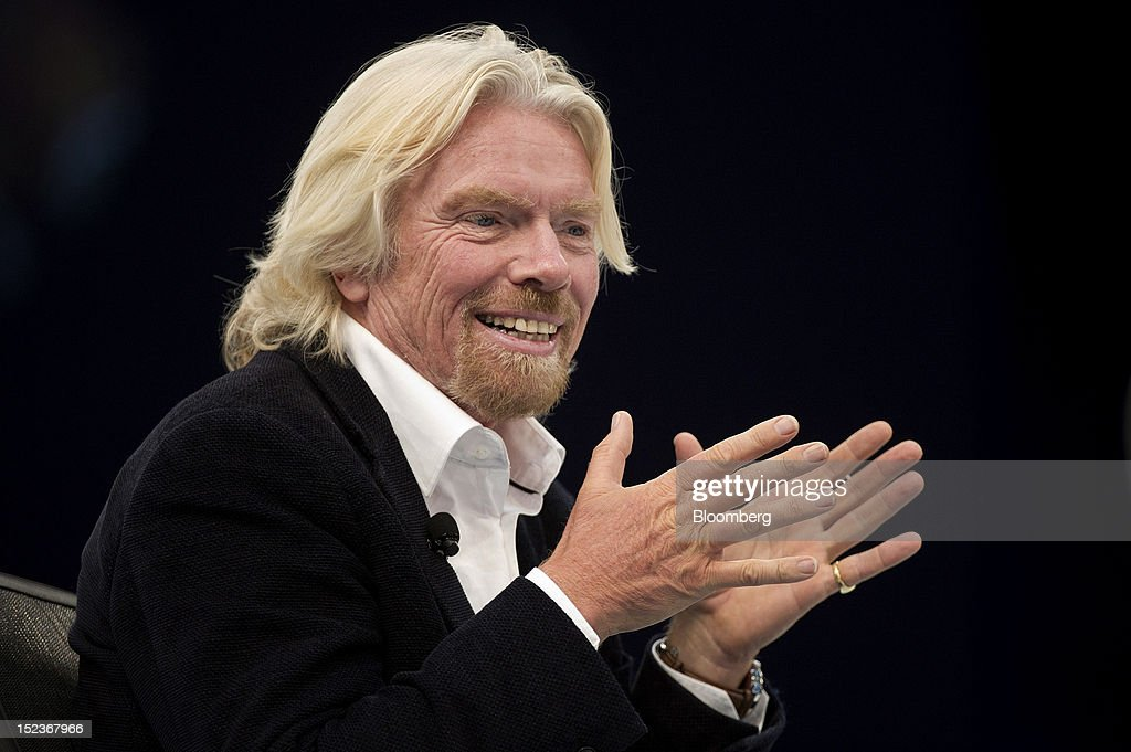 <a gi-track='captionPersonalityLinkClicked' href=/galleries/search?phrase=Richard+Branson&family=editorial&specificpeople=220198 ng-click='$event.stopPropagation()'>Richard Branson</a>, chairman and founder of Virgin Group Ltd., speaks during a keynote address at the DreamForce Conference in San Francisco, California, U.S., on Wednesday, Sept. 19, 2012. Salesforce.com Inc. said it's releasing a new version of its software for tablet computers and unifying its social-media marketing products into a single suite, as it races to stay ahead of new market entrants. Photographer: David Paul Morris/Bloomberg via Getty Images