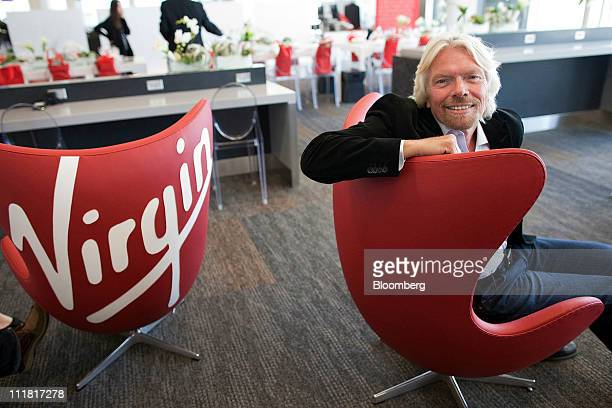 Richard Branson founder and chairman of Virgin Group Ltd sits for a photo at the new Terminal 2 at San Francisco International Airport in San...