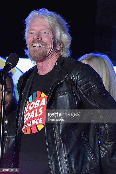 Richard Branson speaks on stage at the 2015 Global Citizen Festival to end extreme poverty by 2030 in Central Park on September 26 2015 in New York...