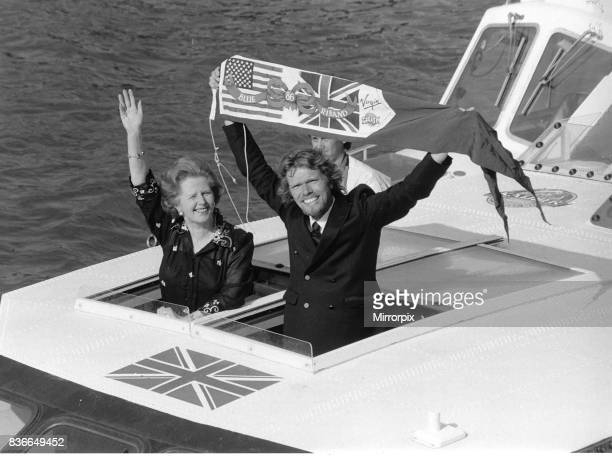 Richard Branson tycoon with Margaret Thatcher on his boat Virgin Atlantic Challenger 1986