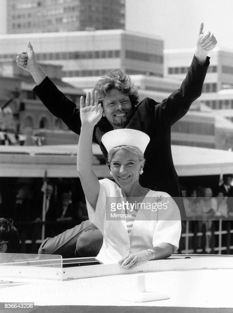 Richard Branson tycoon with Princess Michael of Kent on his boat Virgin Atlantic Challenger July 1986