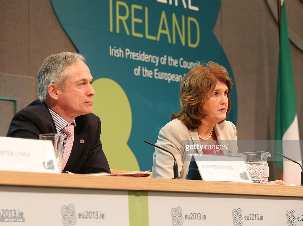 Richard Bruton T.D, Irish Minister for Jobs, Enterprise and Innovation and Joan Burton T.D, Irish Minister for Social Protection speak to the press at the second plenary session of the Informal Meeting of Ministers for Employment and Social Affairs (EPSCO) on February 8, 2013 in Dublin Castle, Dublin, Ireland.