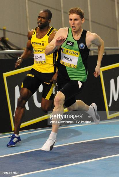 Richard Buck on his way to victory in the Men's 400m during Aviva European Trials and UK Championships at the English Institute of Sport Sheffiled