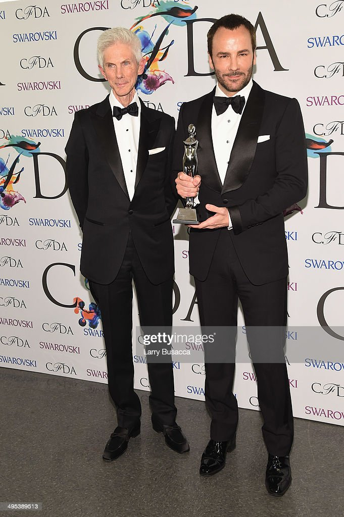 Richard Buckley and Geoffrey Beene lifetime achievement award recipient <a gi-track='captionPersonalityLinkClicked' href=/galleries/search?phrase=Tom+Ford+-+Fashion+Designer&family=editorial&specificpeople=4280099 ng-click='$event.stopPropagation()'>Tom Ford</a> attend the winners walk during the 2014 CFDA fashion awards at Alice Tully Hall, Lincoln Center on June 2, 2014 in New York City.