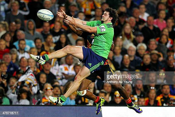 Richard Buckman of the Highlanders attempts to catch the high ball during the round three Super Rugby match between the Chiefs and the Highlanders at...