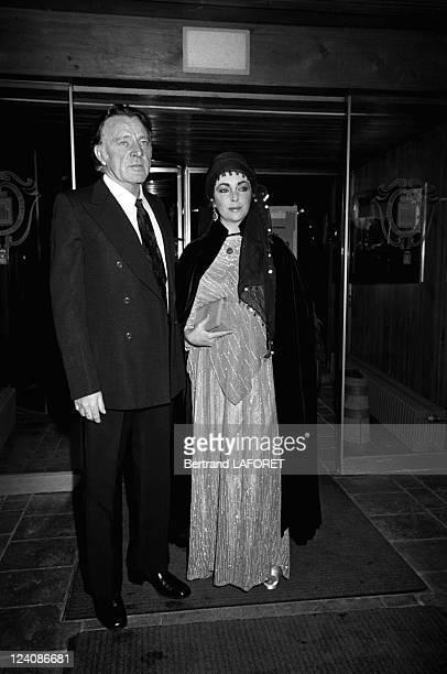 Richard Burton and Liz Taylor in Gstaad Switzerland on December 28 1975 Liz Taylor and Richard Burton
