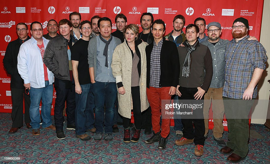 Richard C. Jones, Corby Sullivan, Amy Seimetz, Alfredo Maduro, Yen Tan, Bill Heck, Marcus DeAnda and John Merriman with the cast and crew during the 'Pit Stop' Premiere at Prospector Square on January 21, 2013 in Park City, Utah.