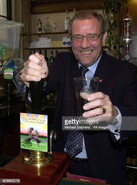 Richard Caborn MP in the Strangers bar in the House of Commons pictured in front of a Sheffield brewery pump Mr Cabourn has an empty glass as the...