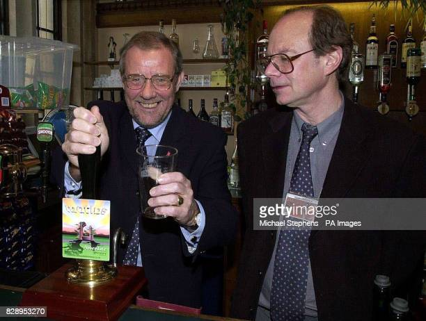 Richard Caborn MP with Sheffield Star reporter Huw Lawrence in the Strangers bar in the House of Commons pictured in front of a Sheffield brewery...
