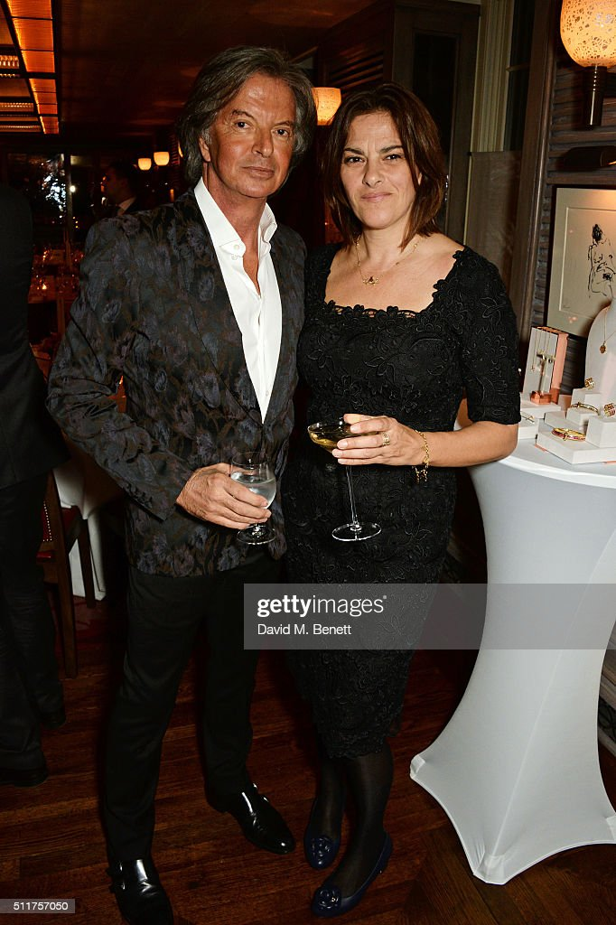 Richard Caring (L) and Tracey Emin attend the launch of Tracey Emin and Stephen Webster's new jewellery collection 'I Promise To Love You' at 34 Grosvenor Square on February 22, 2016 in London, England.