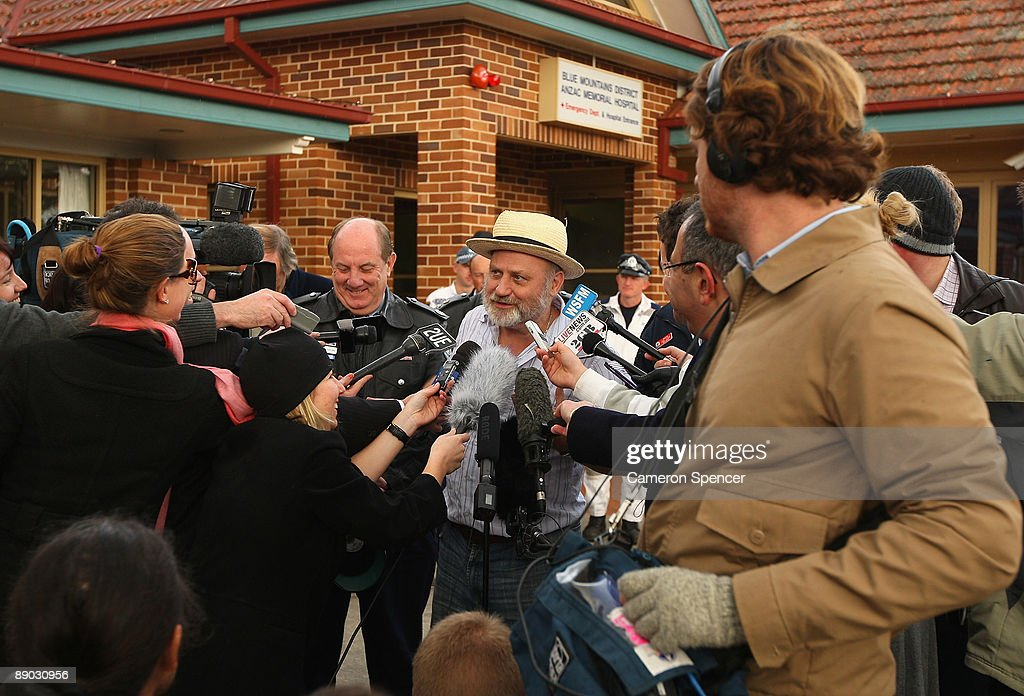 Richard Cass, father of Jamie Neale talks to media outside the Blue Mountains Hospital on July 15, 2009 in Katoomba, Australia. Missing backpacker Jamie Neale was found earlier today after surviving 12 days lost in the bush near Katoomba suffering from only dehydration and exposure.