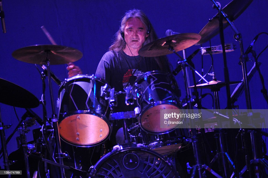 Richard Chadwick of Hawkwind performs on stage at Shepherds Bush Empire on December 10, 2011 in London, England.