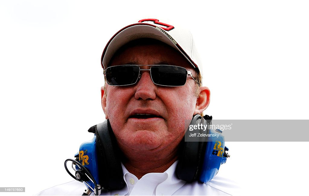Richard Childress stands in the garage during practice for the NASCAR Sprint Cup Series Pennsylvania 400 at Pocono Raceway on August 3 2012 in Long...