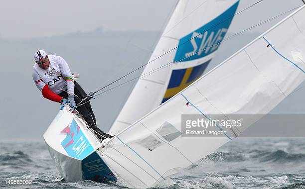 Richard Clarke and Tyler Bjorn of Canada compete in the Men's Star Sailing on Day 4 of the London 2012 Olympic Games at Weymouth Harbour on July 31...