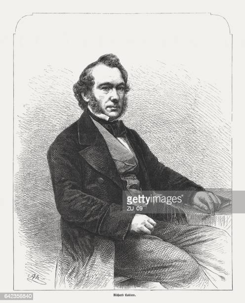 Richard Cobden (1804-1865), British manufacturer, wood engraving, published in 1865