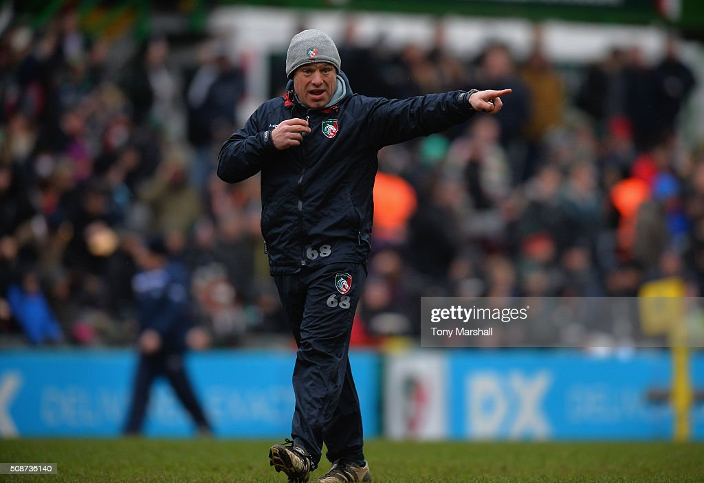 <a gi-track='captionPersonalityLinkClicked' href=/galleries/search?phrase=Richard+Cockerill&family=editorial&specificpeople=609259 ng-click='$event.stopPropagation()'>Richard Cockerill</a>, Director of Rugby for Leicester Tigers during the Aviva Premiership match between Leicester Tigers and Sale Sharks at Welford Road on February 6, 2016 in Leicester, England.