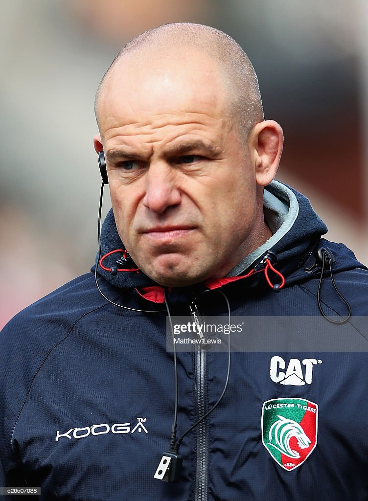 Richard Cockerill, Director of rugby of Leicester Tigers looks on during the Aviva Premiership match between Leicester Tigers and Worcester Warriors at Welford Road on April 30, 2016 in Leicester, England.