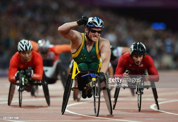 Richard Colman of Australia celebrates winning gold in the Men's 800m T53 Final on day 7 of the London 2012 Paralympic Games at Olympic Stadium on...