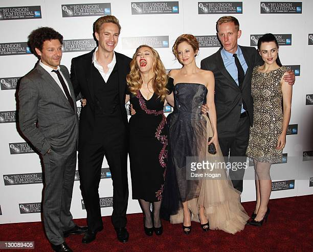 Richard Coyle James D'Arcy filmmaker Madonna actors Andrea Riseborough Laurence Fox and Katie McGrath attend the premiere for 'WE' at The 55th BFI...