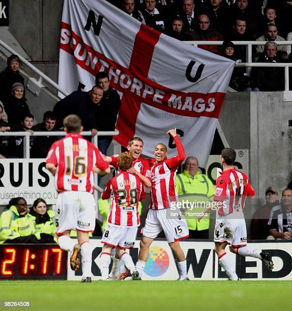 Richard Cresswell celebrates after scoring the opening goal during the Coca Cola Championship match between Newcastle United and Sheffield United at...