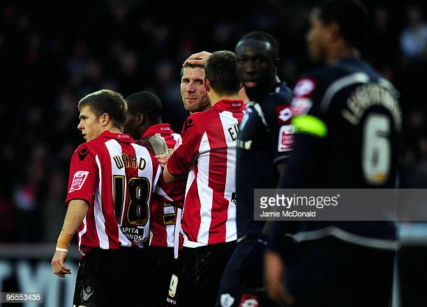 Richard Cresswell celebrates his goal for Sheffield United during the FA Cup sponsored by EON 3rd Round match between Sheffield United and Queens...