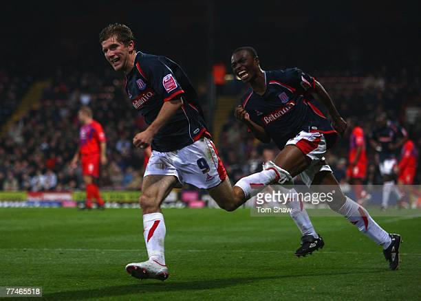 Richard Cresswell of Stoke celebrates his goal during the Coca Cola Championship match between Crystal Palace and Stoke City at Selhurst Park on...