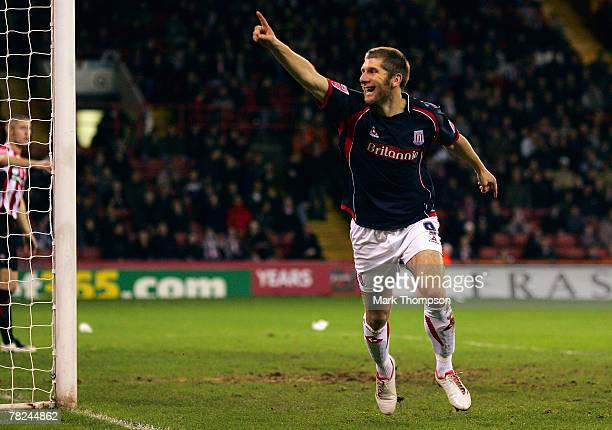 Richard Cresswell of Stoke City celebrates his goal during the CocaCola Championship match between Sheffield United and Stoke City at Bramall Lane on...