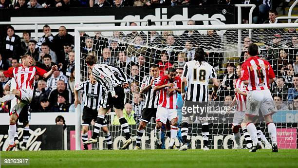 Richard Cresswell scores the opening goal during the Coca Cola Championship match between Newcastle United and Sheffield United at StJames' Park on...