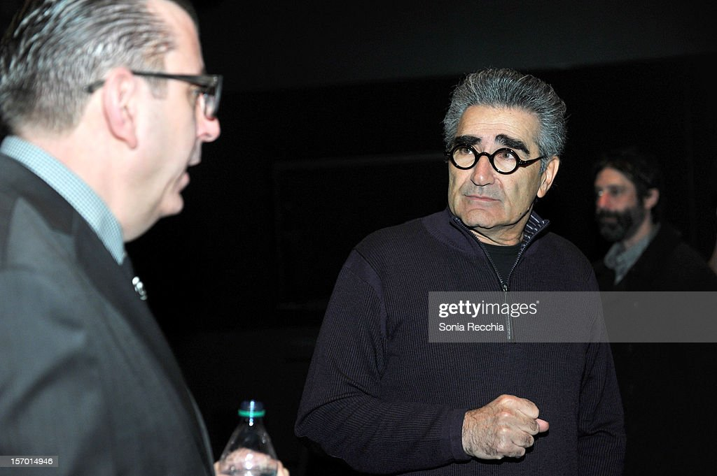 Richard Crouse and <a gi-track='captionPersonalityLinkClicked' href=/galleries/search?phrase=Eugene+Levy&family=editorial&specificpeople=215201 ng-click='$event.stopPropagation()'>Eugene Levy</a> attend CFC Presents An Evening With Leslie Mann And Judd Apatow at TIFF Bell Lightbox on November 26, 2012 in Toronto, Canada.