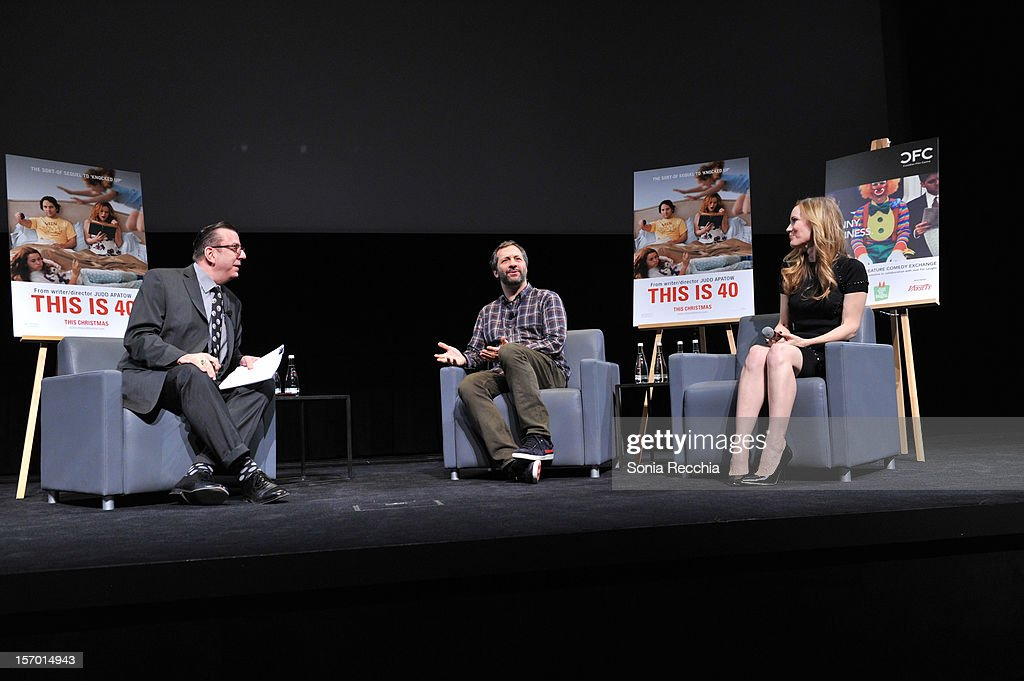 Richard Crouse, <a gi-track='captionPersonalityLinkClicked' href=/galleries/search?phrase=Judd+Apatow&family=editorial&specificpeople=854225 ng-click='$event.stopPropagation()'>Judd Apatow</a> and <a gi-track='captionPersonalityLinkClicked' href=/galleries/search?phrase=Leslie+Mann&family=editorial&specificpeople=595973 ng-click='$event.stopPropagation()'>Leslie Mann</a> attend CFC Presents An Evening With <a gi-track='captionPersonalityLinkClicked' href=/galleries/search?phrase=Leslie+Mann&family=editorial&specificpeople=595973 ng-click='$event.stopPropagation()'>Leslie Mann</a> And <a gi-track='captionPersonalityLinkClicked' href=/galleries/search?phrase=Judd+Apatow&family=editorial&specificpeople=854225 ng-click='$event.stopPropagation()'>Judd Apatow</a> at TIFF Bell Lightbox on November 26, 2012 in Toronto, Canada.