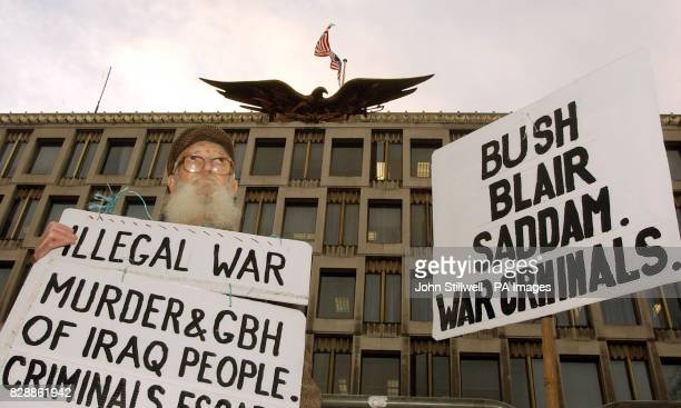 Richard Crump from Carshalton in Surrey mounts a protest outside the American Embassy in Grosvenor Square in London The pensioner was protesting...