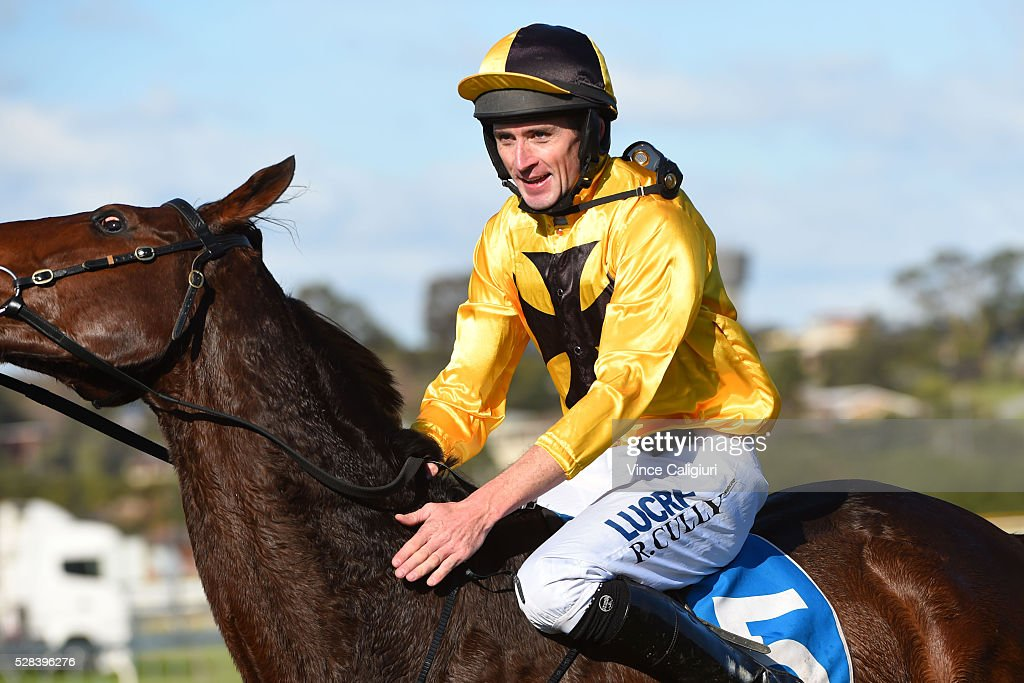 Richard Cully riding No Song No Supper after winning Race 7, Grand Annual Steeplechase during Grand Annual Day at Warrnambool Race Club on May 5, 2016 in Warrnambool, Australia.