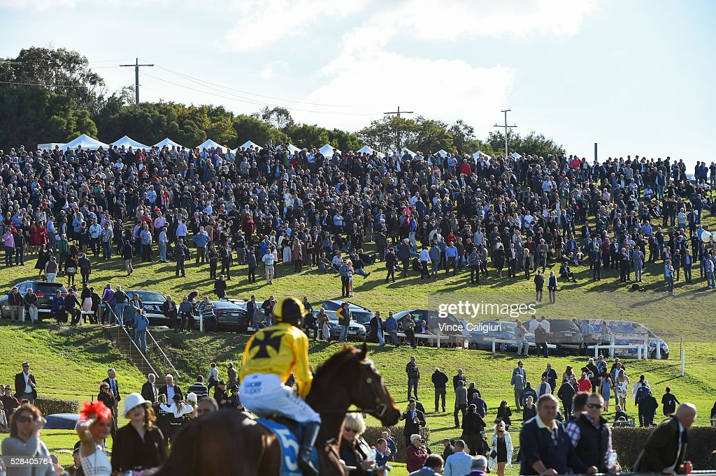 Richard Cully riding No Song No Supper heads to the start in front of the crowd on the hill before winning Race 7, Grand Annual Steeplechase during Grand Annual Day at Warrnambool Race Club on May 5, 2016 in Warrnambool, Australia.