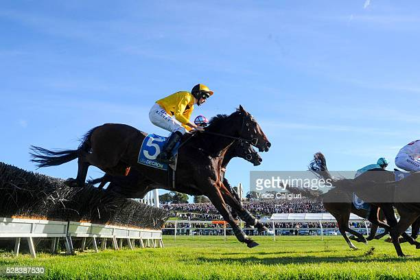 Richard Cully riding No Song No Supper on his way to winning Race 7 Grand Annual Steeplechase during Grand Annual Day at Warrnambool Race Club on May...