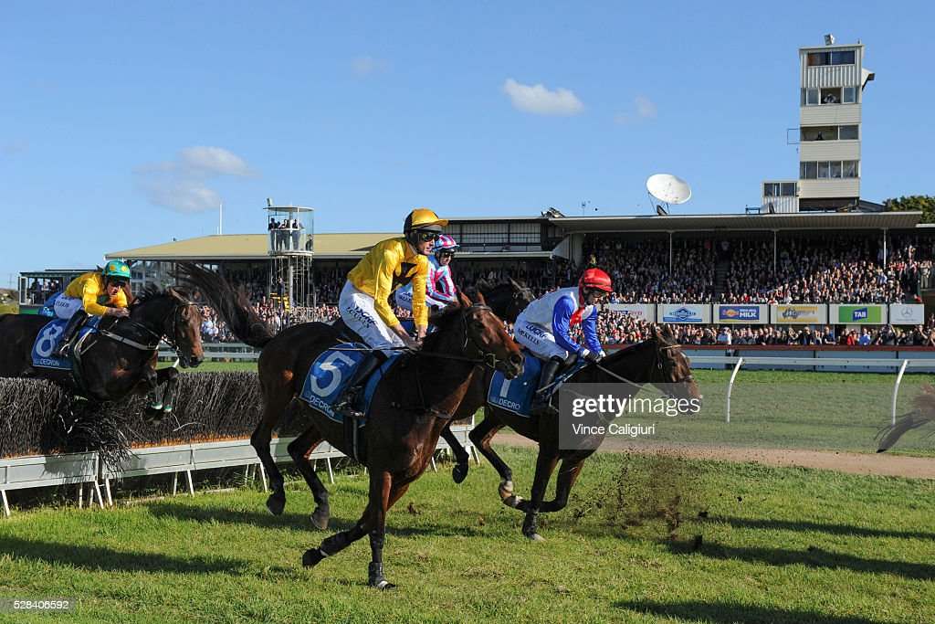 Richard Cully riding No Song No Supper (5) on his way to winning Race 7, Grand Annual Steeplechase during Grand Annual Day at Warrnambool Race Club on May 5, 2016 in Warrnambool, Australia.